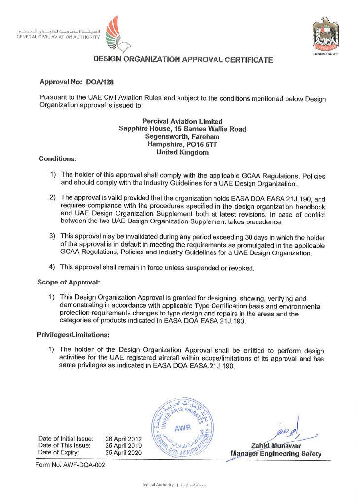 Percival DOA Renewal Certificate 2019