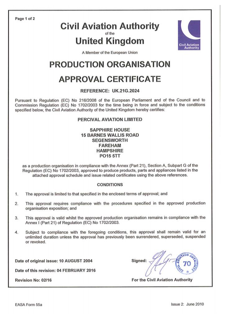 Percival Aviation - EASA-Part-21-Sub-Part-G