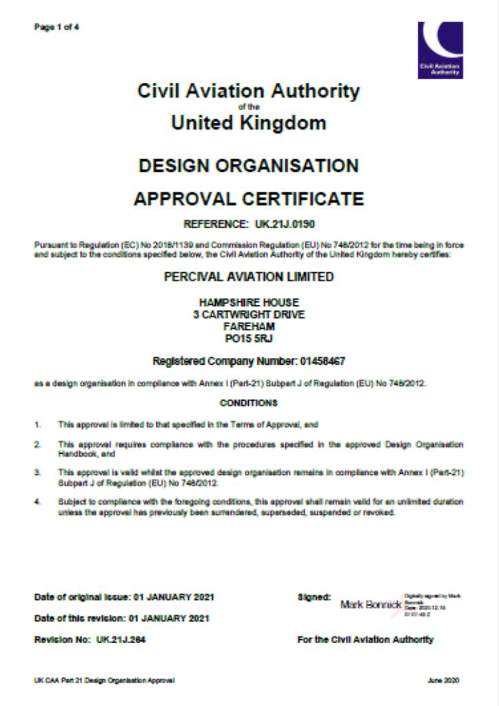 CAA UK21J Certificate